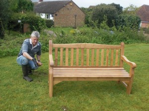 Installing new bench in the church yard